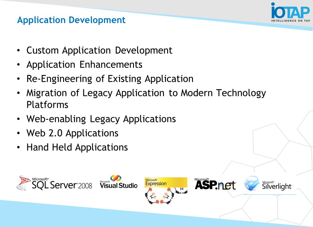 Custom Application Development Application Enhancements Re-Engineering of Existing Application Migration of Legacy Application to Modern Technology Pl