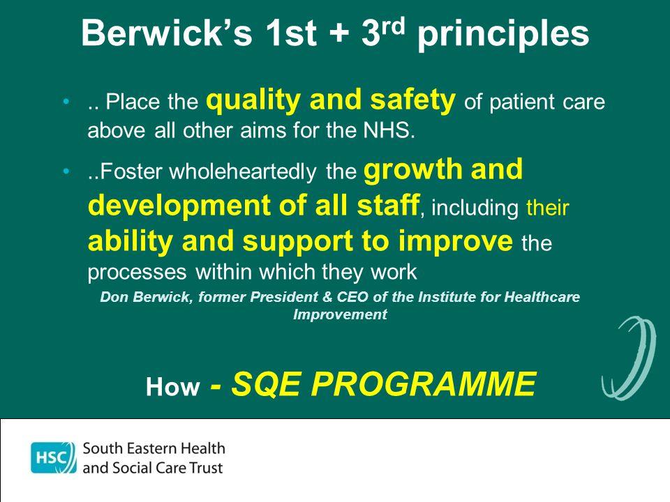 Berwick's 1st + 3 rd principles..