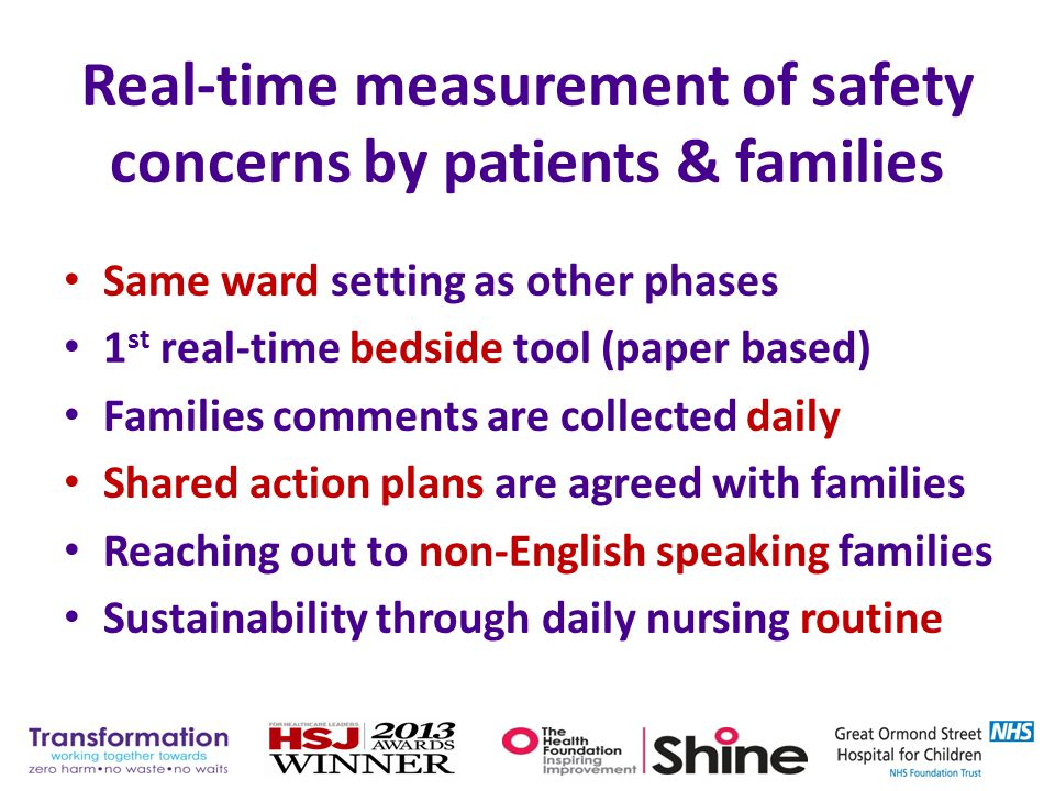 Real-time measurement of safety concerns by patients & families Same ward setting as other phases 1 st real-time bedside tool (paper based) Families c