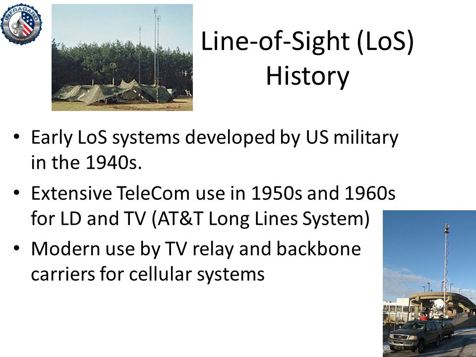 Line-of-Sight (LoS) History Early LoS systems developed by US military in the 1940s.