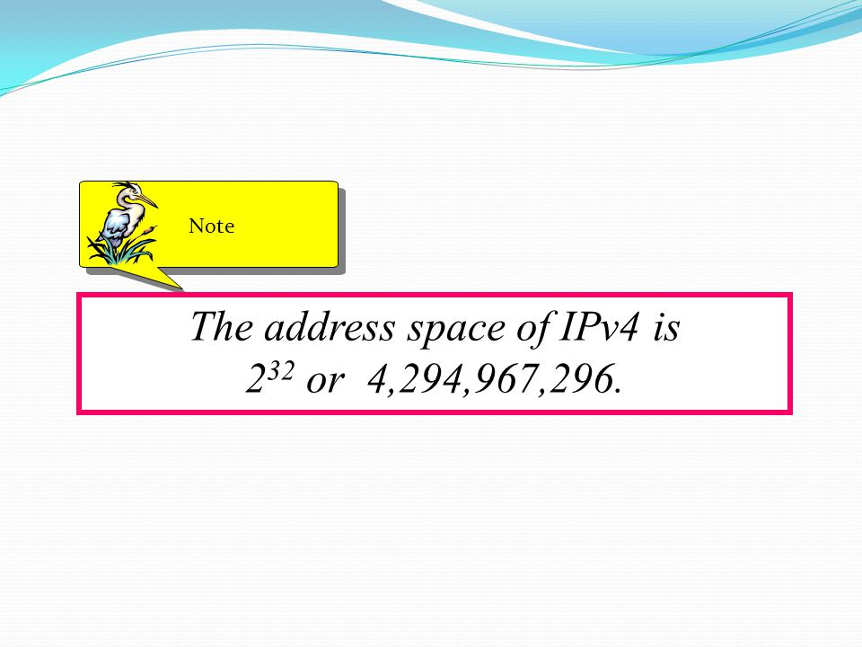 The address space of IPv4 is 2 32 or 4,294,967,296. Note