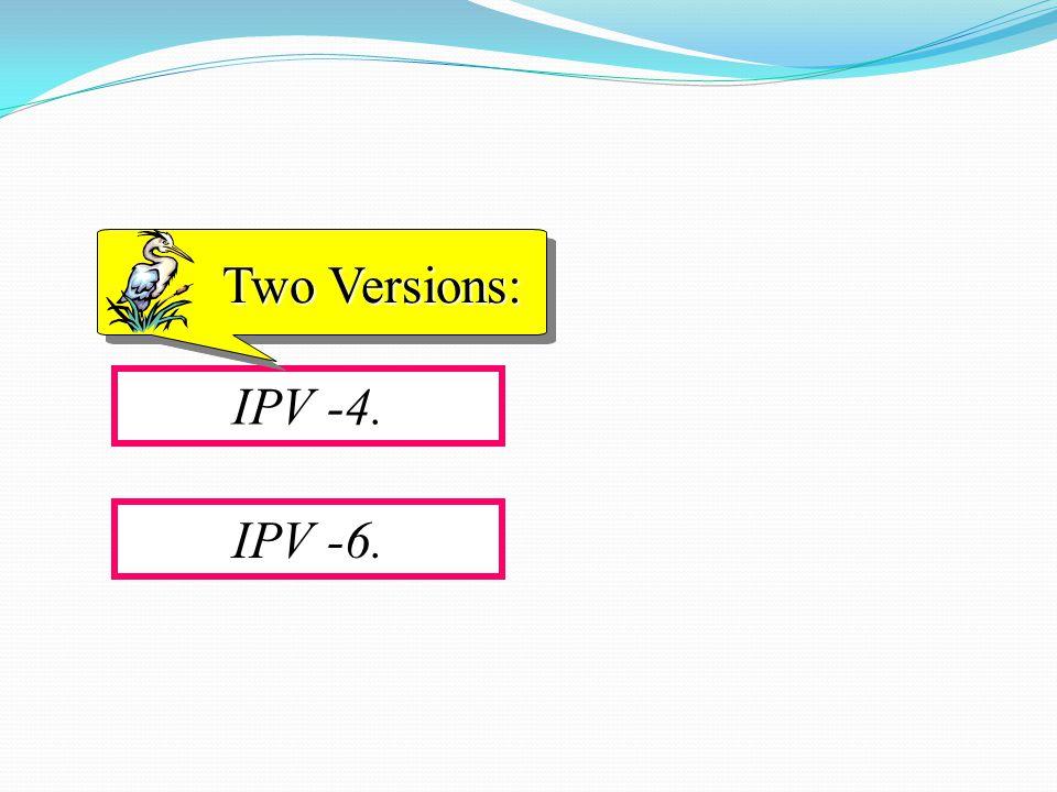 IPV -4. Two Versions: IPV -6.