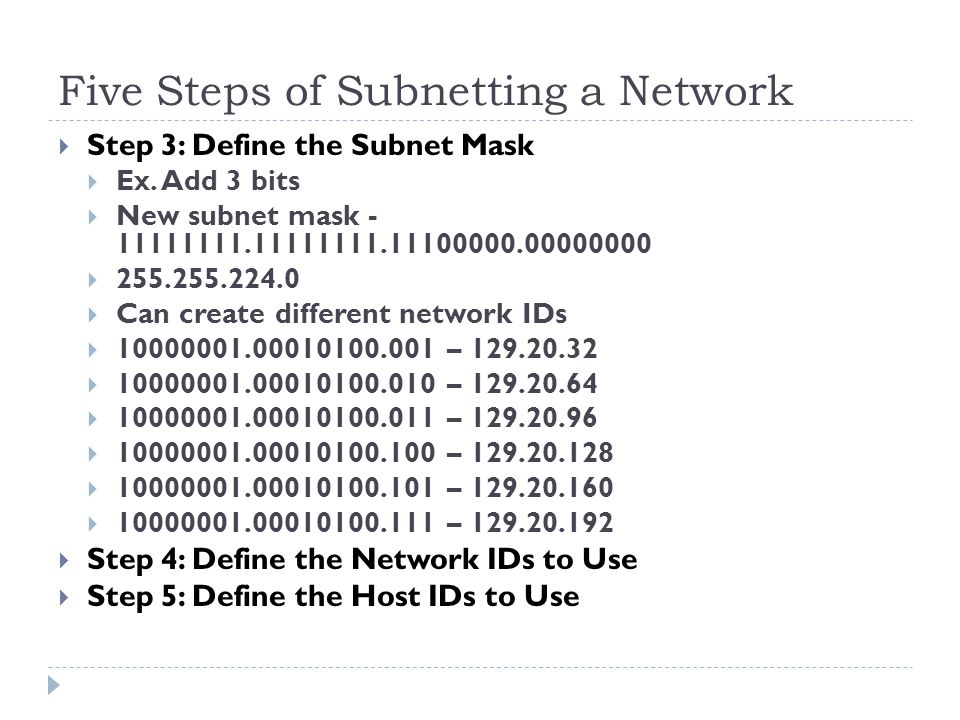 Five Steps of Subnetting a Network  Step 3: Define the Subnet Mask  Ex.