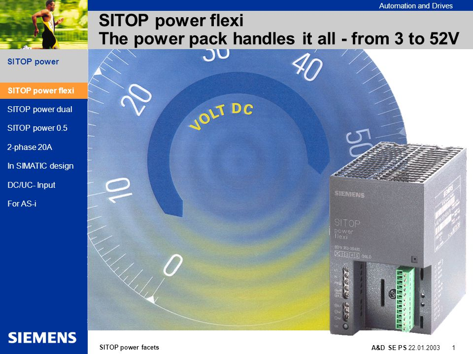 SITOP power facets A&D SE PS 22.01.2003 12 SITOP power Automation and Drives SITOP power 2-phase 20A Special features and application areas 24VDC /20 A DC for 3-phase networks in 480 and 575 VAC 2-phase power supply No need for line protection of third phase Single phasing doesn't require additional protection devices as recommended with 3w-phase power supplies Wide- input voltage range from 420-682 VAC for...