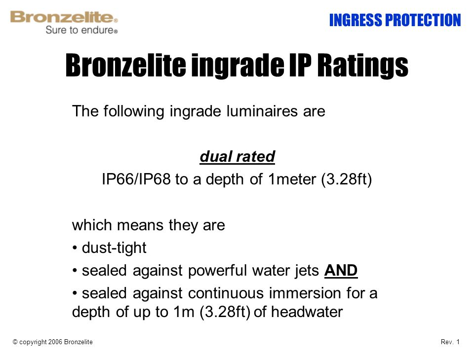 Bronzelite ingrade IP Ratings The following ingrade luminaires are dual rated IP66/IP68 to a depth of 1meter (3.28ft) which means they are dust-tight