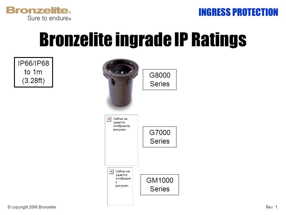 Bronzelite ingrade IP Ratings © copyright 2006 Bronzelite INGRESS PROTECTION G8000 Series G7000 Series GM1000 Series IP66/IP68 to 1m (3.28ft) Rev. 1