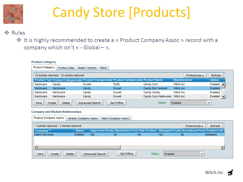 Candy Store [Products] Witch Inc  Rules  It is highly recommended to create a « Product Company Assoc » record with a company which isn't « - Global – »,