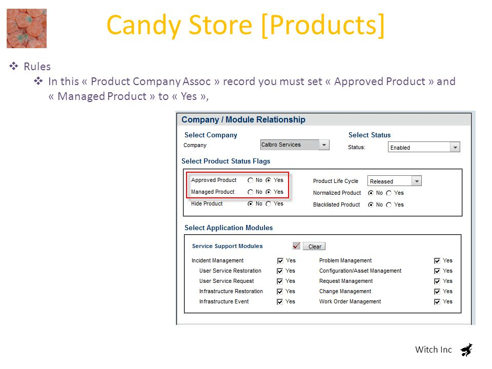 Candy Store [Products] Witch Inc  Rules  In this « Product Company Assoc » record you must set « Approved Product » and « Managed Product » to « Yes »,