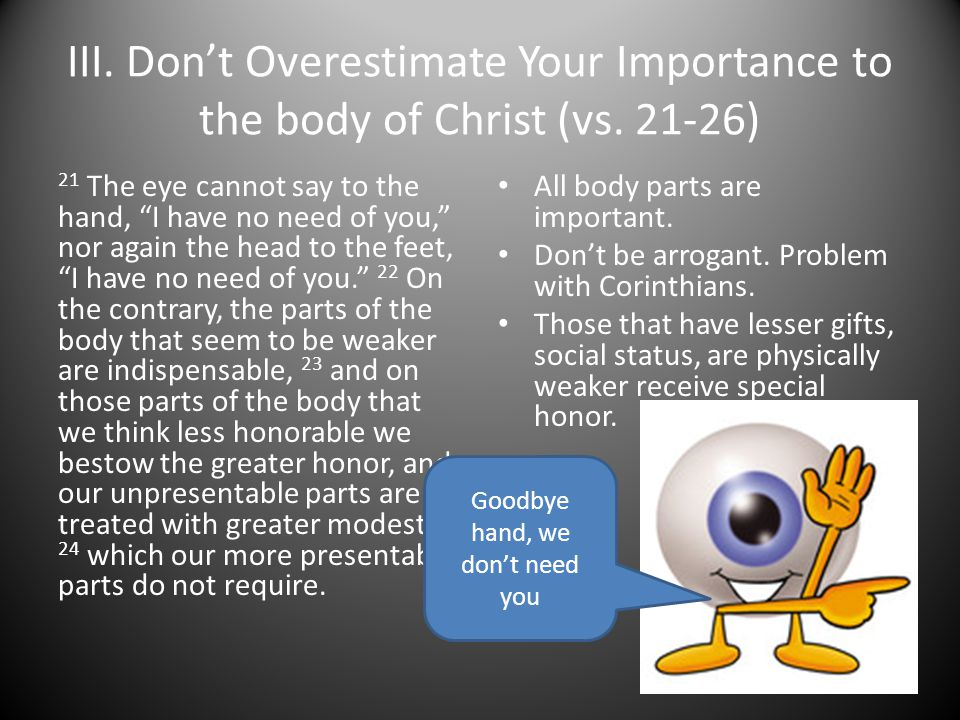 III. Don't Overestimate Your Importance to the body of Christ (vs.
