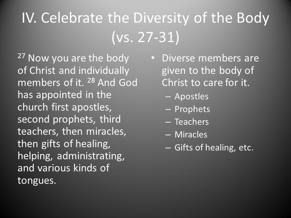IV.Celebrate the Diversity of the Body (vs.