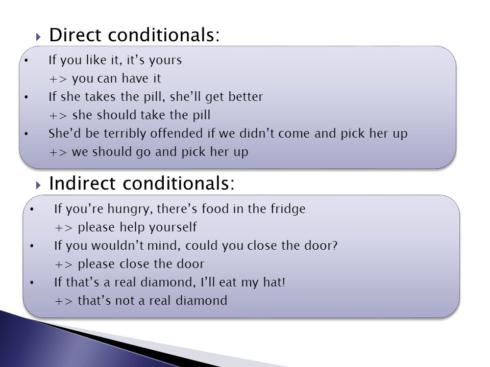  Direct conditionals:  Indirect conditionals: If you're hungry, there's food in the fridge +> please help yourself If you wouldn't mind, could you close the door.