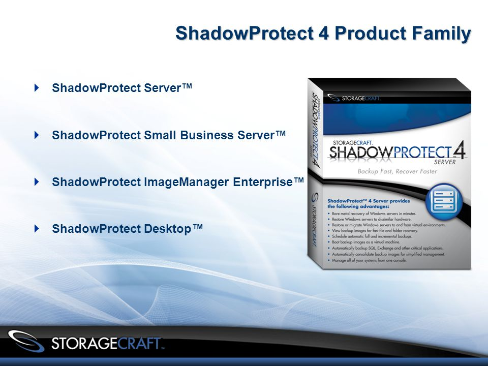 ShadowProtect 4 Product Family  ShadowProtect Server™  ShadowProtect Small Business Server™  ShadowProtect ImageManager Enterprise™  ShadowProtect Desktop™