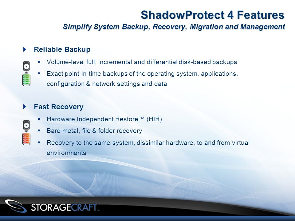 ShadowProtect 4 Features Simplify System Backup, Recovery, Migration and Management  Reliable Backup  Volume-level full, incremental and differential disk-based backups  Exact point-in-time backups of the operating system, applications, configuration & network settings and data  Fast Recovery  Hardware Independent Restore™ (HIR)  Bare metal, file & folder recovery  Recovery to the same system, dissimilar hardware, to and from virtual environments