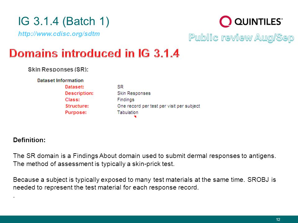 12 IG 3.1.4 (Batch 1) Skin Responses (SR): http://www.cdisc.org/sdtm Definition: The SR domain is a Findings About domain used to submit dermal responses to antigens.