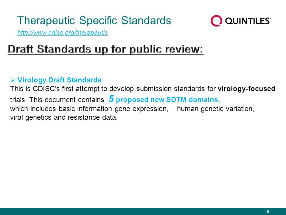 15 Therapeutic Specific Standards http://www.cdisc.org/therapeutic  Virology Draft Standards This is CDISC's first attempt to develop submission stan