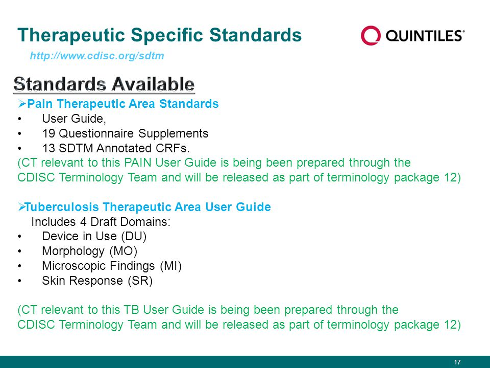 17 Therapeutic Specific Standards http://www.cdisc.org/sdtm  Pain Therapeutic Area Standards User Guide, 19 Questionnaire Supplements 13 SDTM Annotat