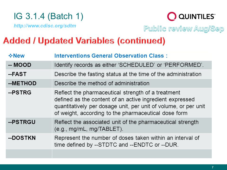 7 IG 3.1.4 (Batch 1) http://www.cdisc.org/sdtm  NewInterventions General Observation Class : -- MOODIdentify records as either 'SCHEDULED' or 'PERFORMED'.