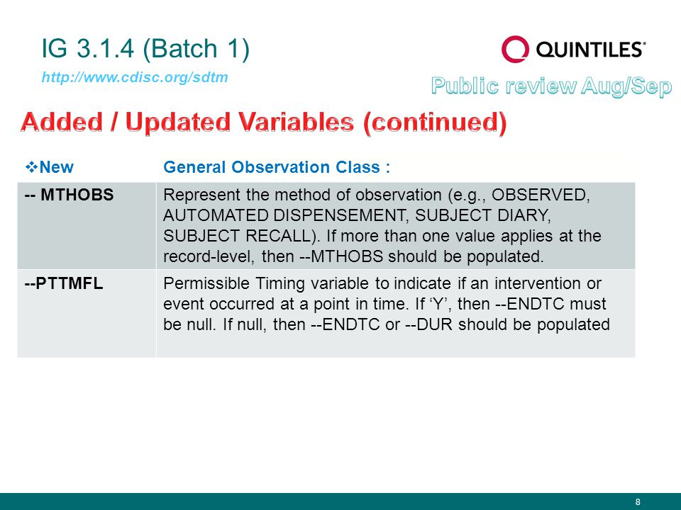 8 IG 3.1.4 (Batch 1) http://www.cdisc.org/sdtm  NewGeneral Observation Class : -- MTHOBSRepresent the method of observation (e.g., OBSERVED, AUTOMATED DISPENSEMENT, SUBJECT DIARY, SUBJECT RECALL).