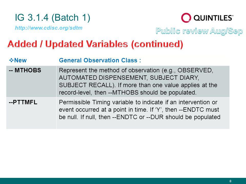 8 IG 3.1.4 (Batch 1) http://www.cdisc.org/sdtm  NewGeneral Observation Class : -- MTHOBSRepresent the method of observation (e.g., OBSERVED, AUTOMATE