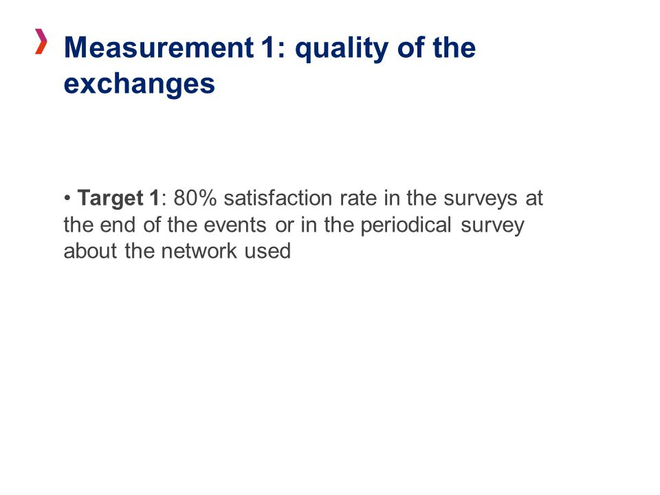 Measurement 1: quality of the exchanges Target 1: 80% satisfaction rate in the surveys at the end of the events or in the periodical survey about the network used
