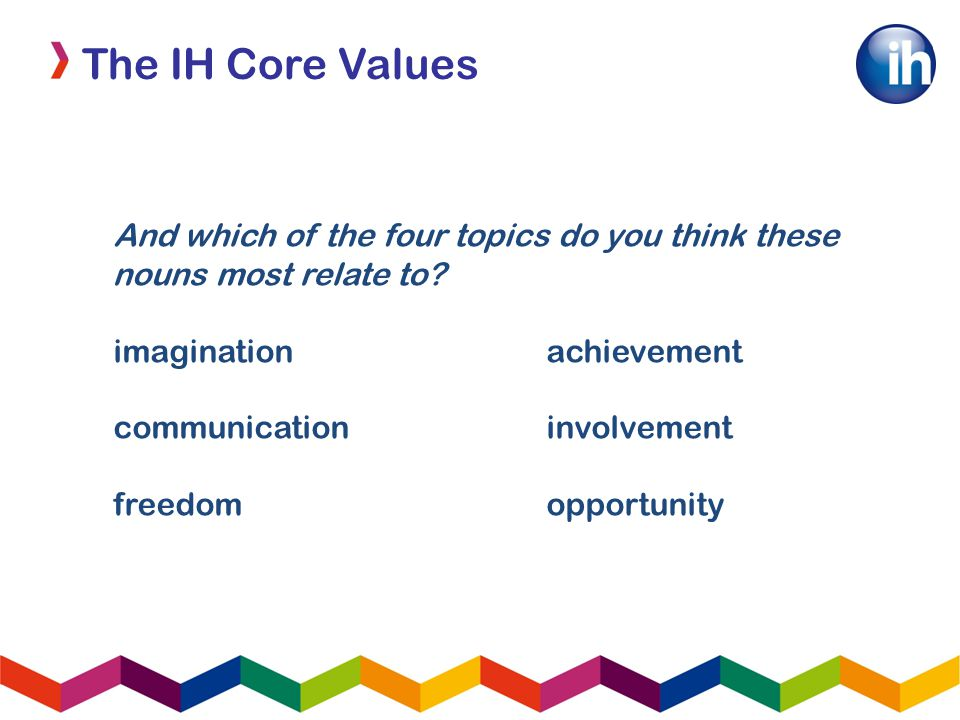 The IH Core Values And which of the four topics do you think these nouns most relate to.