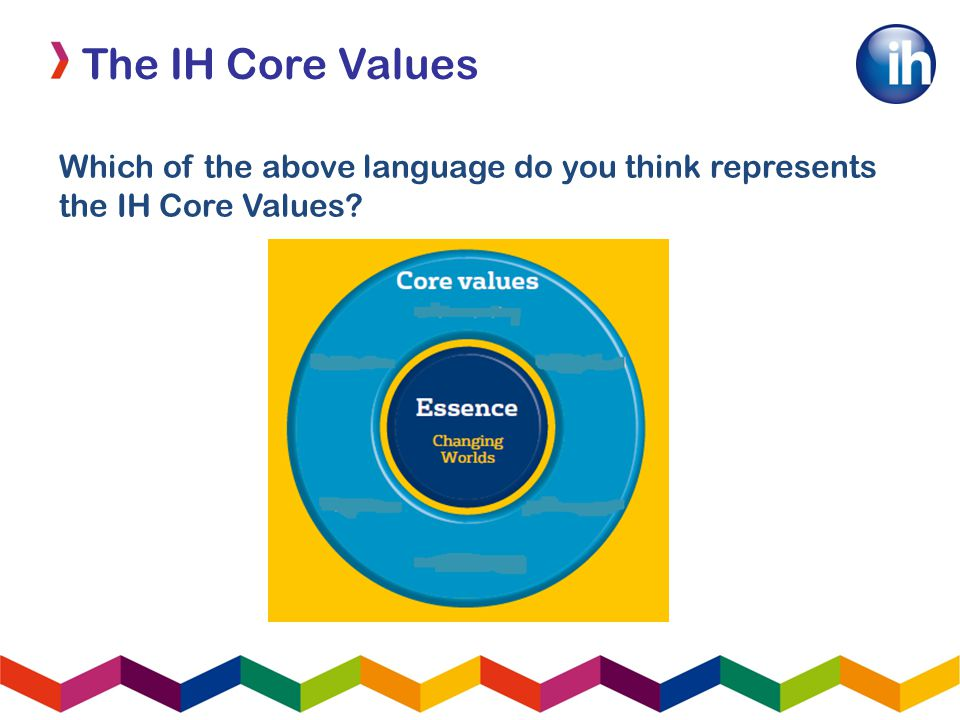 The IH Core Values Which of the above language do you think represents the IH Core Values