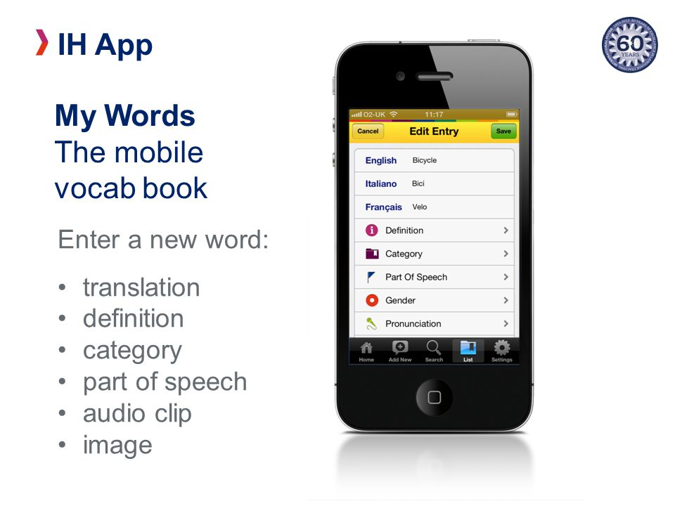 IH App Enter a new word: translation definition category part of speech audio clip image My Words The mobile vocab book