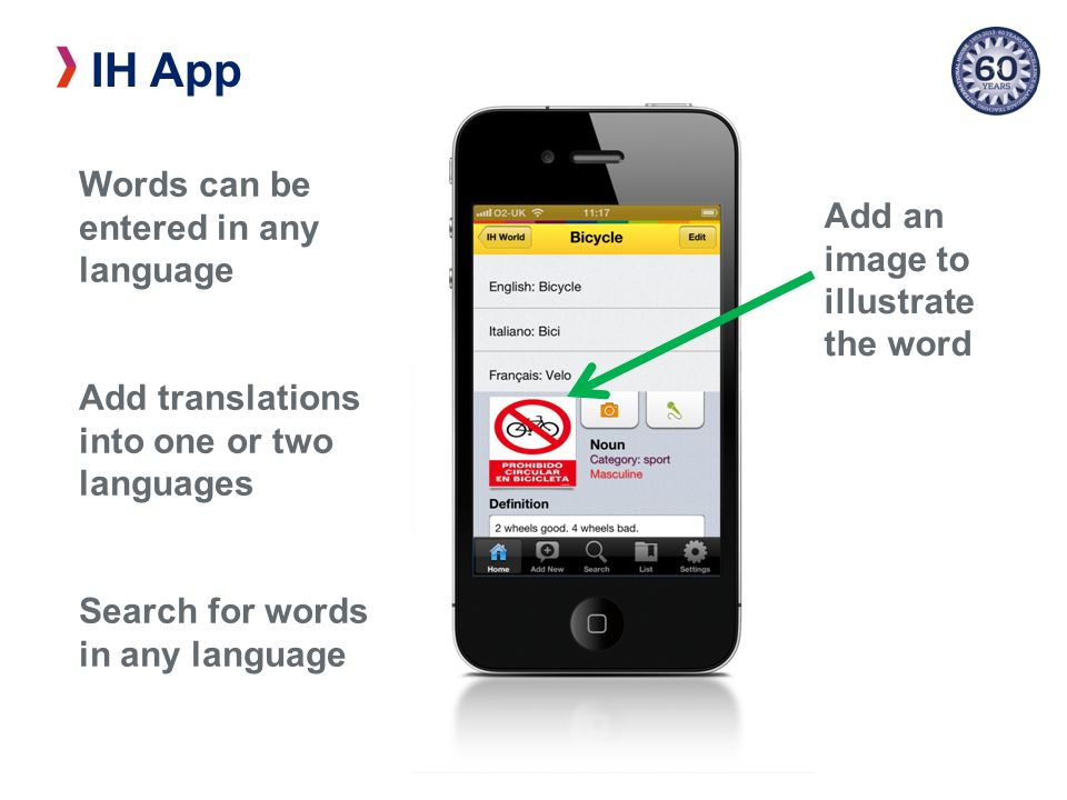 IH App Words can be entered in any language Add translations into one or two languages Search for words in any language Add an image to illustrate the word