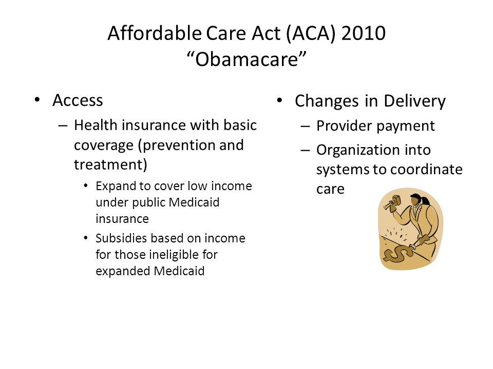 Affordable Care Act (ACA) 2010 Obamacare Access – Health insurance with basic coverage (prevention and treatment) Expand to cover low income under public Medicaid insurance Subsidies based on income for those ineligible for expanded Medicaid Changes in Delivery – Provider payment – Organization into systems to coordinate care