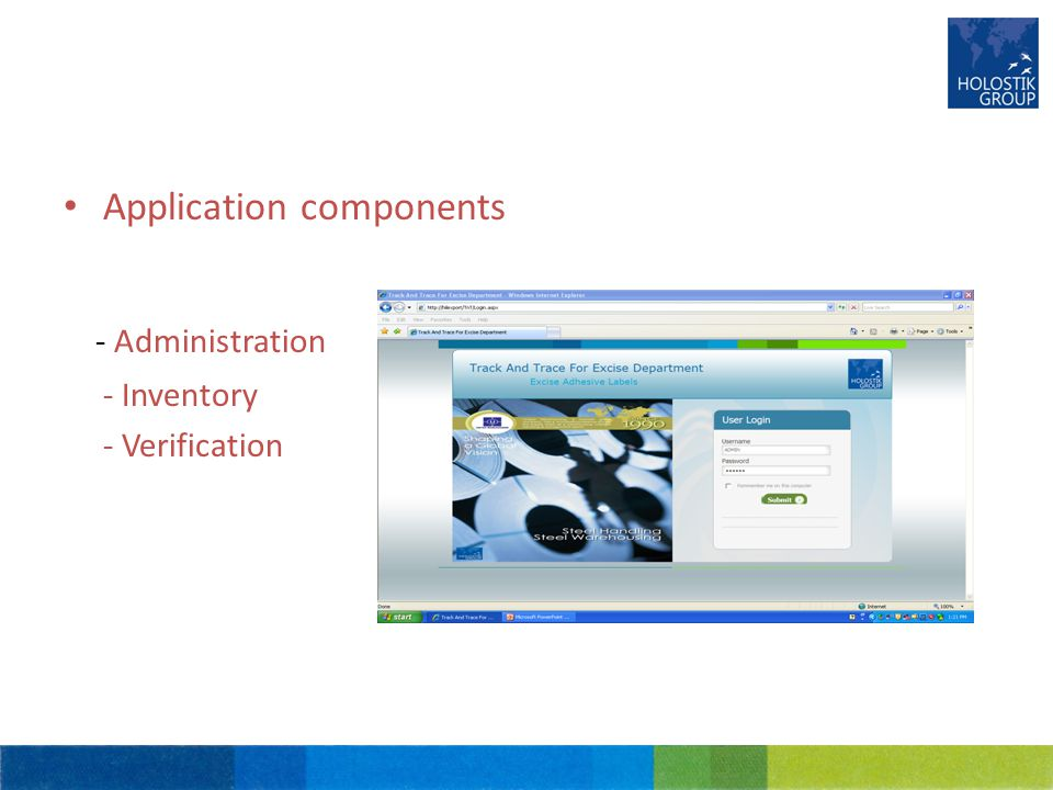 Application components - Administration - Inventory - Verification