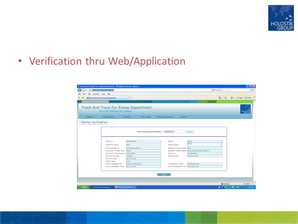Verification thru Web/Application
