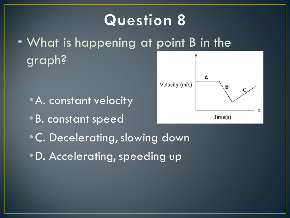 What is happening at point B in the graph. A. constant velocity B.