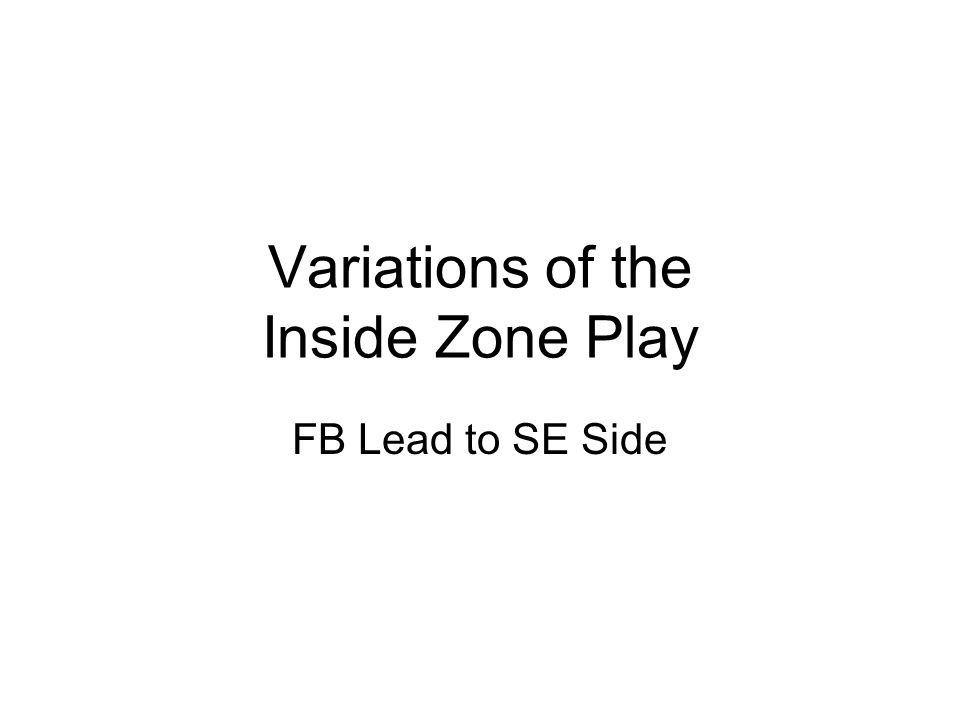 Variations of the Inside Zone Play FB Lead to TE Side