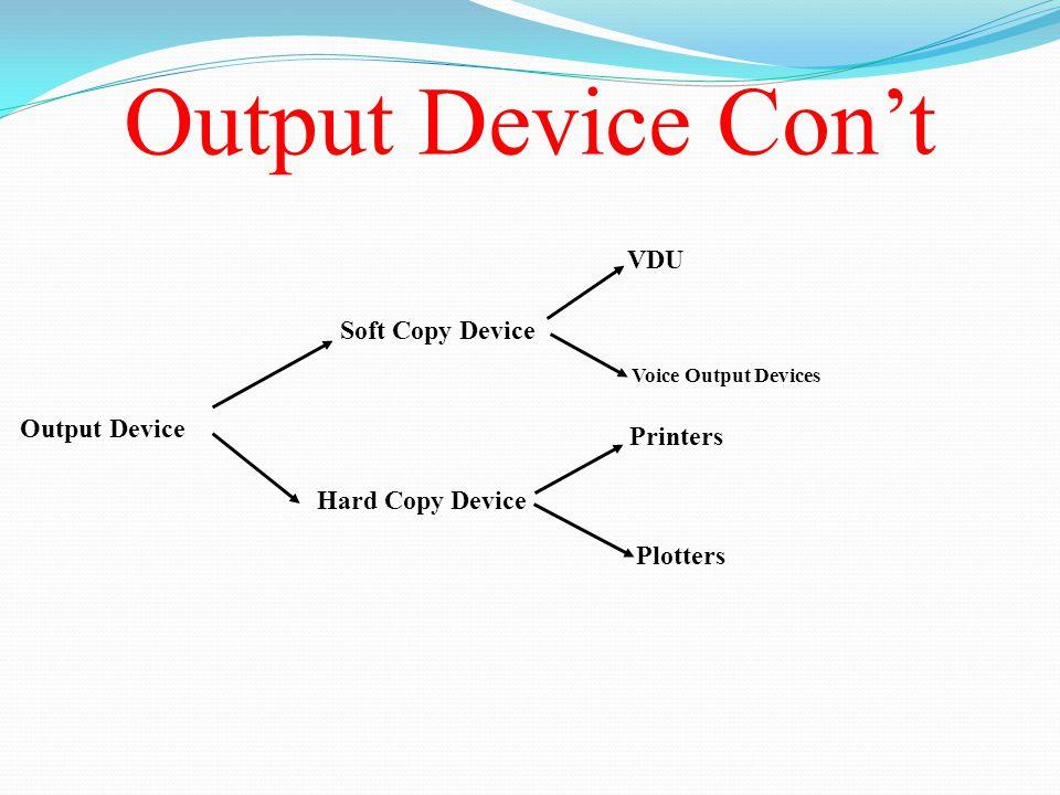 Output Device Con't Output Device Soft Copy Device Hard Copy Device VDU Voice Output Devices Printers Plotters