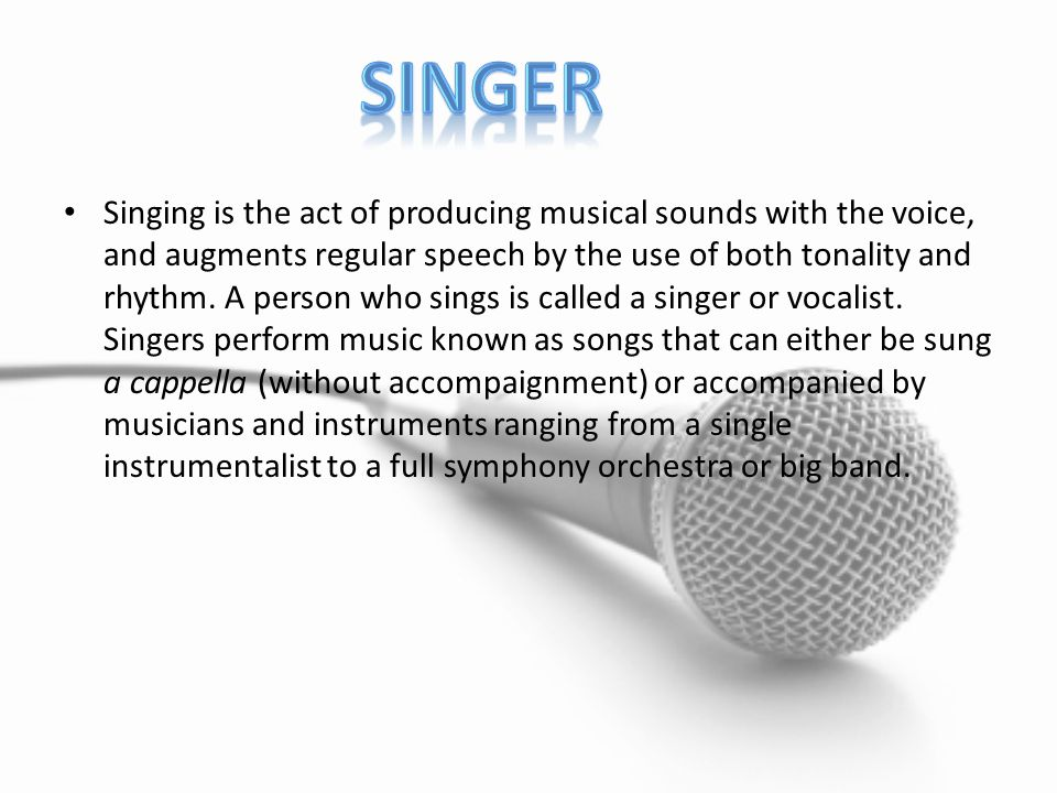 Singing is often done in a group of other musicians, such as in a choir of singers with different voice ranges, or in an ensemble with instrumentalists, such as a rock group or baroque ensemble.