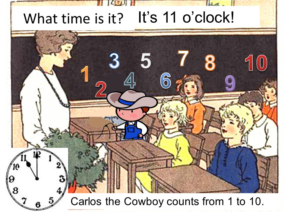 What time is it Carlos the Cowboy walks to school. It's 9 o'clock!