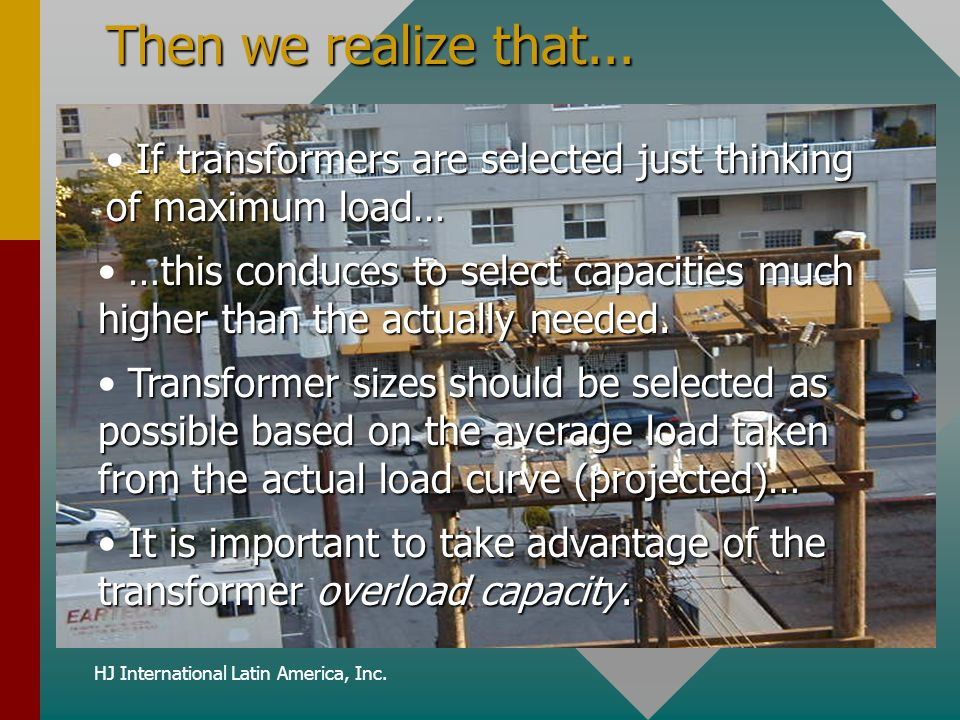 HJ International Latin America, Inc. Then we realize that... If transformers are selected just thinking of maximum load… …this conduces to select capa