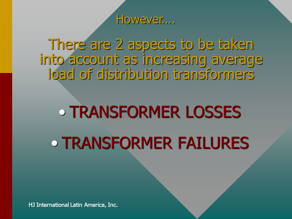 HJ International Latin America, Inc. There are 2 aspects to be taken into account as increasing average load of distribution transformers TRANSFORMER
