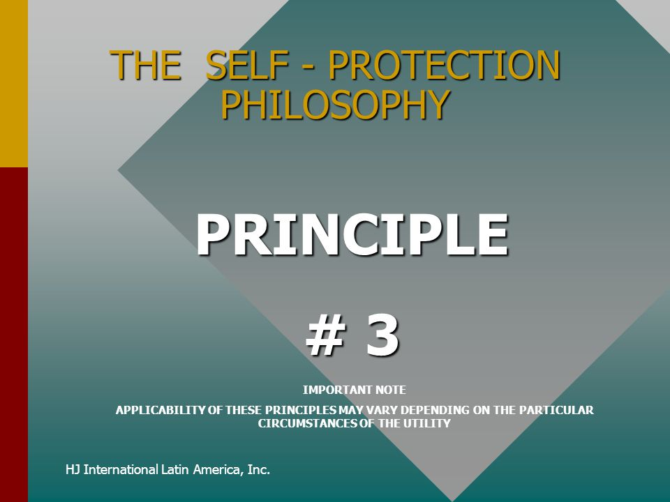 HJ International Latin America, Inc. THE SELF - PROTECTION PHILOSOPHY PRINCIPLE # 3 IMPORTANT NOTE APPLICABILITY OF THESE PRINCIPLES MAY VARY DEPENDIN