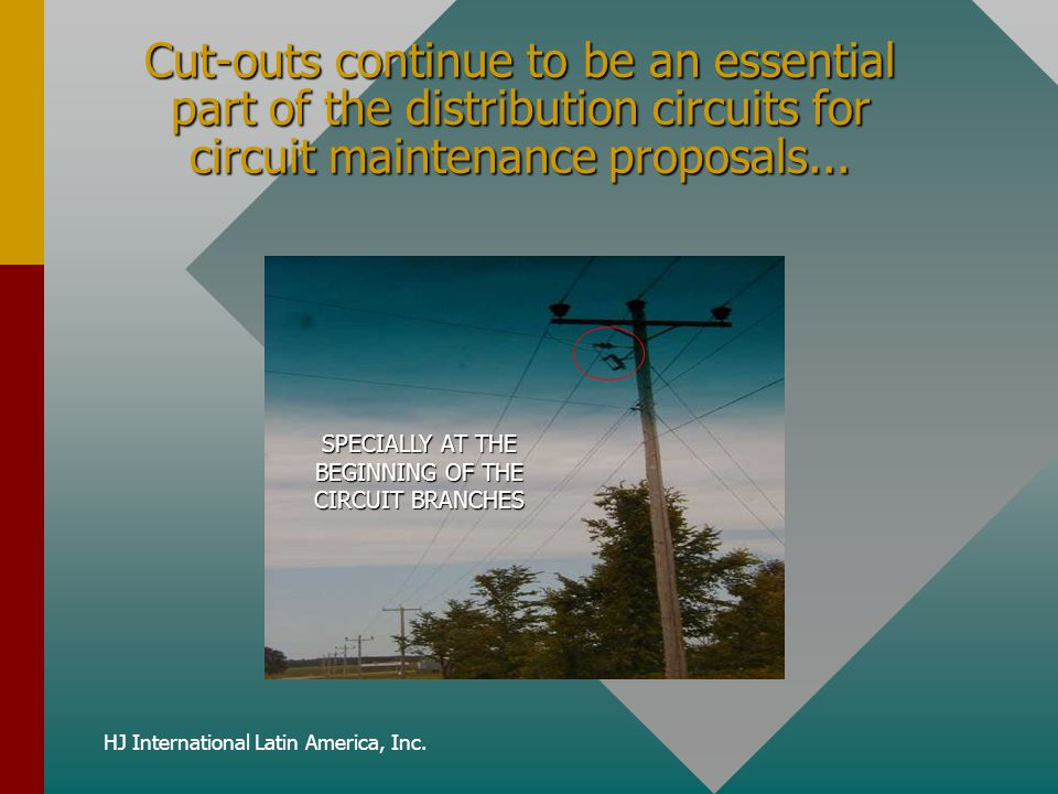 HJ International Latin America, Inc. Cut-outs continue to be an essential part of the distribution circuits for circuit maintenance proposals... SPECI