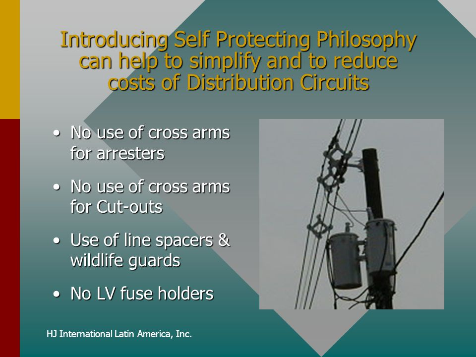 HJ International Latin America, Inc. Introducing Self Protecting Philosophy can help to simplify and to reduce costs of Distribution Circuits No use o