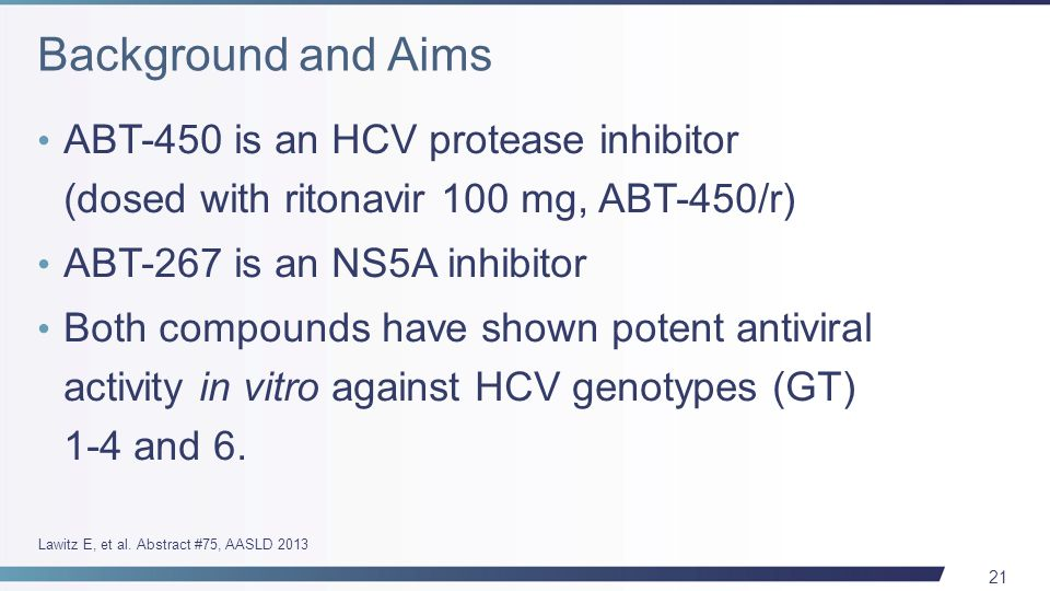 21 ABT-450 is an HCV protease inhibitor (dosed with ritonavir 100 mg, ABT-450/r) ABT-267 is an NS5A inhibitor Both compounds have shown potent antiviral activity in vitro against HCV genotypes (GT) 1-4 and 6.