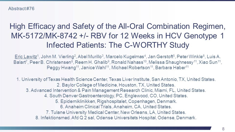 39 Once daily SOF/LDV Fixed Dose Combination with or without RBV resulted in ≥95% SVR12 in patients with HCV GT 1, including patients with cirrhosis Patients with cirrhosis previously failing PI therapy had 100% SVR12 with the combination of SOF/LDV fixed dose combination with RBV for 12 weeks Similarly to prior reports, the combination was well tolerated with an excellent safety profile Lawitz E, et al.