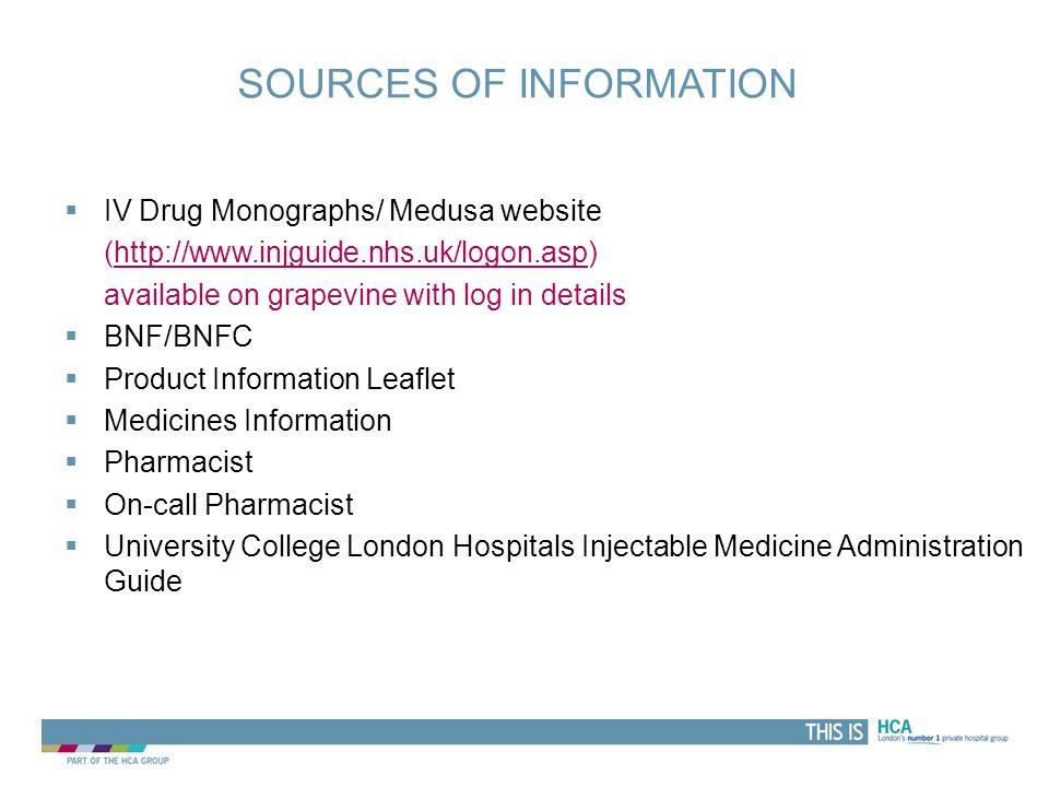 THIS IS SOURCES OF INFORMATION  IV Drug Monographs/ Medusa website (http://www.injguide.nhs.uk/logon.asp)http://www.injguide.nhs.uk/logon.asp availab