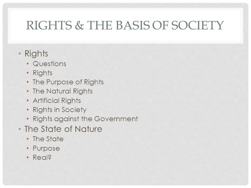 RIGHTS & THE BASIS OF SOCIETY The Basis of Political Authority Authority The Basis of Authority The Legitimate Uses of Authority Obedience Purpose of the State