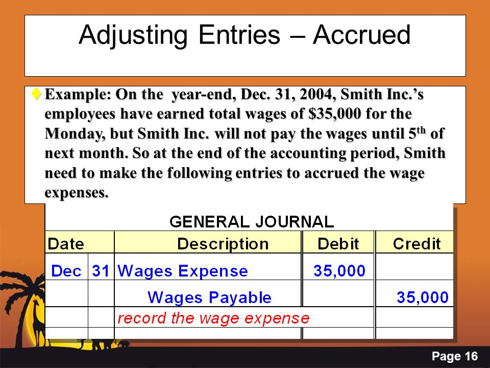 Page 16 Adjusting Entries – Accrued  Example: On the year-end, Dec. 31, 2004, Smith Inc.'s employees have earned total wages of $35,000 for the Monda