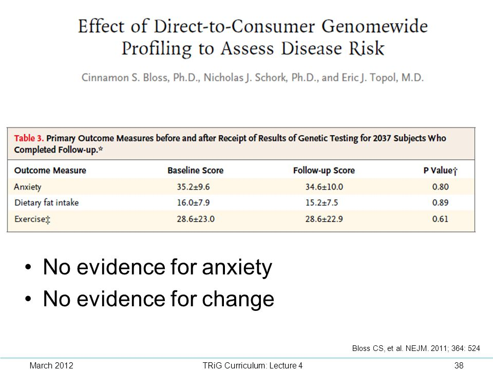 No evidence for anxiety No evidence for change March 201238TRiG Curriculum: Lecture 4 Bloss CS, et al. NEJM. 2011; 364: 524