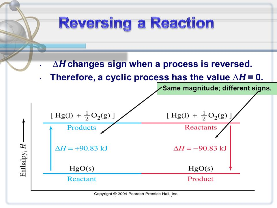  H changes sign when a process is reversed. Therefore, a cyclic process has the value  H = 0. Chapter 6: Thermochemistry11 Same magnitude; different