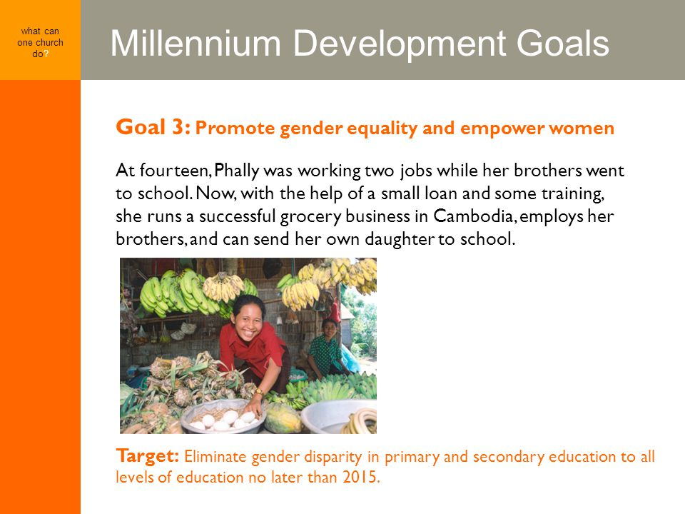Millennium Development Goals what can one church do? Goal 3: Promote gender equality and empower women At fourteen, Phally was working two jobs while