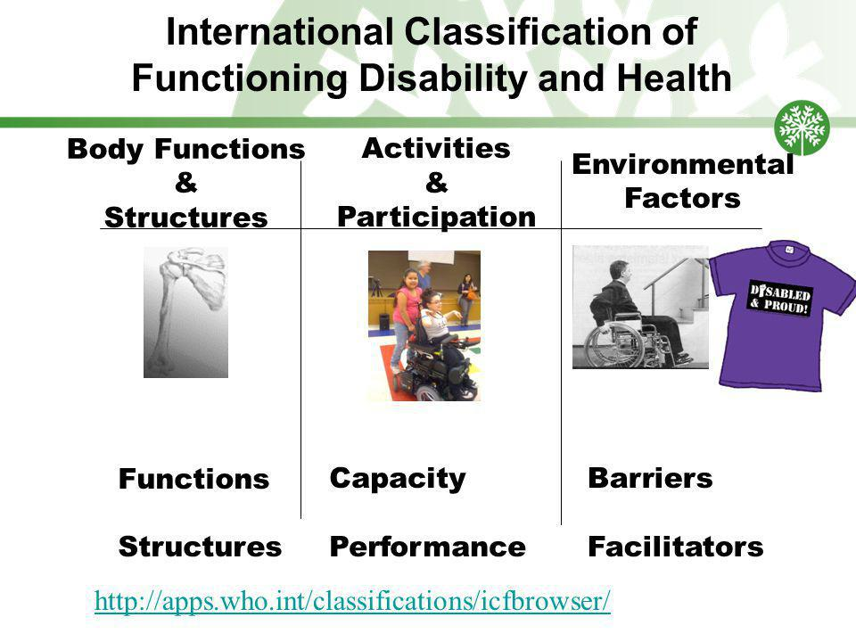 International Classification of Functioning Disability and Health Barriers Facilitators Body Functions & Structures Activities & Participation Environmental Factors Functions Structures Capacity Performance